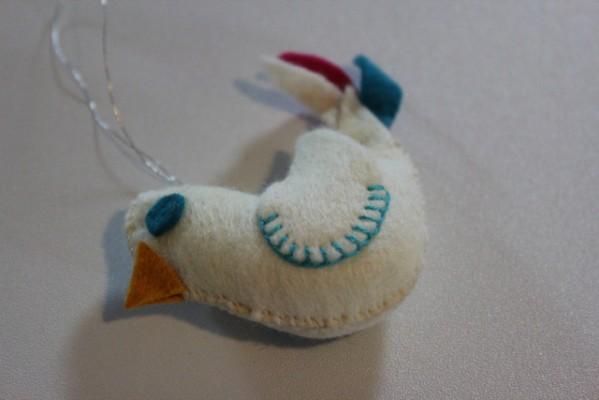 Embroidered Felt Bird Ornament
