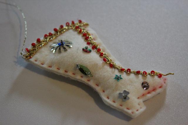 Bedazzled Felt Boot Ornament