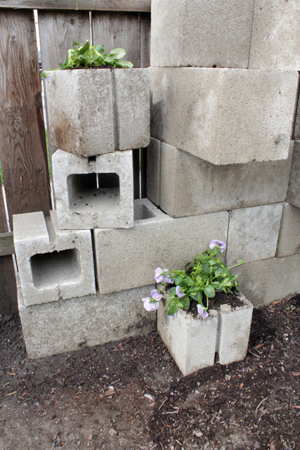 Simple Cinder Block Planter (that can double as a retaining wall) at handsoccupied.com