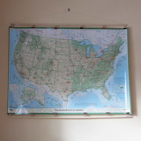 How-to: Hang a Giant Map | HandsOccupied.com