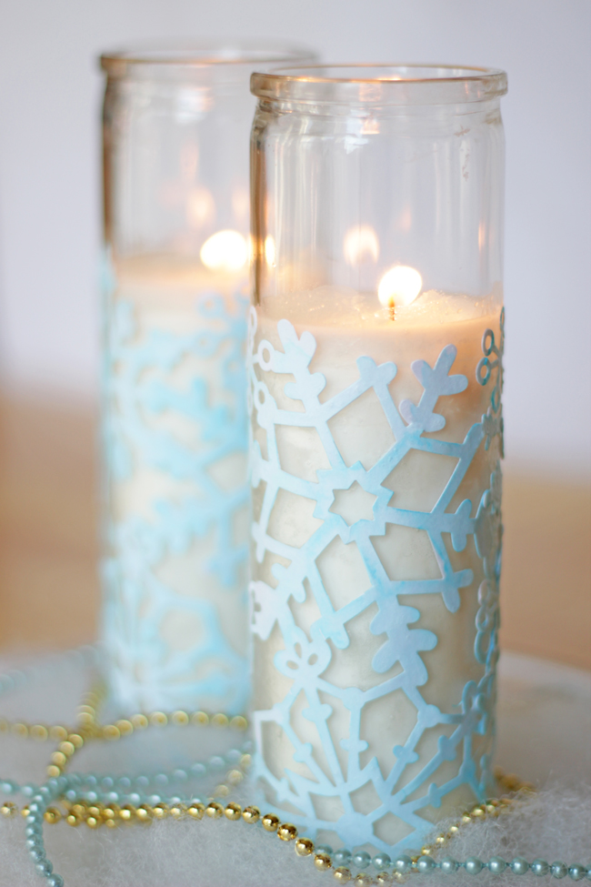 Snowflake Candles | Hands Occupied for Mod Podge Rocks!