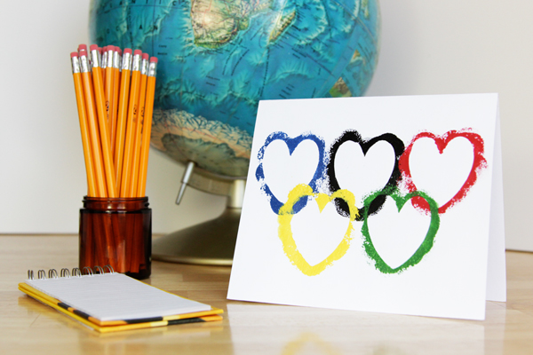 Olympic Rings Valentine - Easy Valentine's Day Card DIY Craft at Hands Occupied