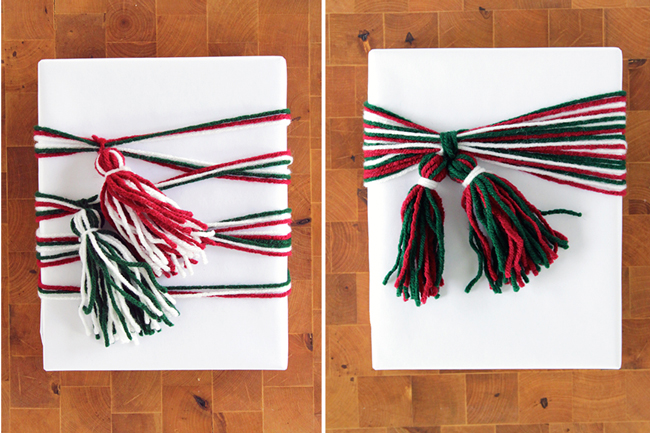 Yarn Tassel Gift Wrap 2 Ways at HandsOccupied.com