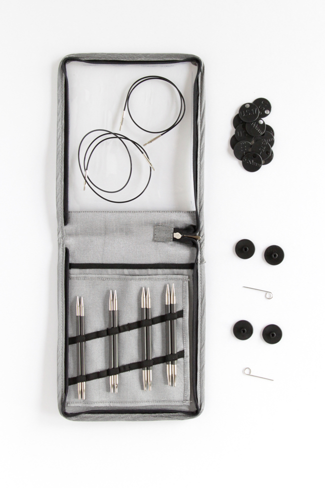 Click through for a review of Knitter's Pride Karbonz Interchangeable Circular Knitting Needles