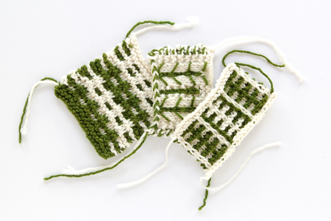 Swatches knit with Mountain Meadow Wool's Powell yarn in Fern and Natural
