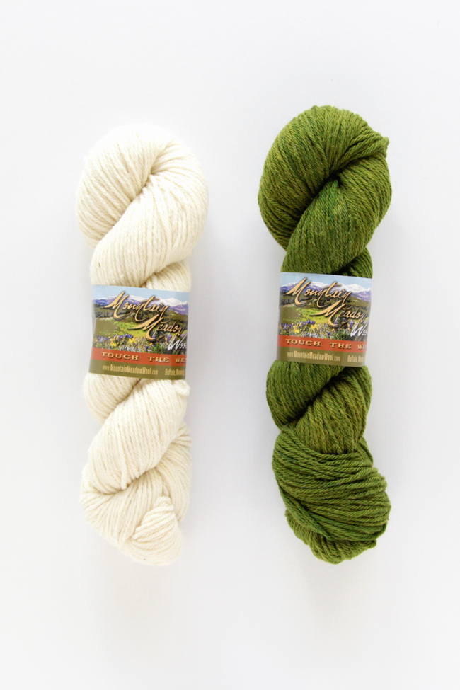 Mountain Meadow Wool's Powell yarn in Fern and Natural