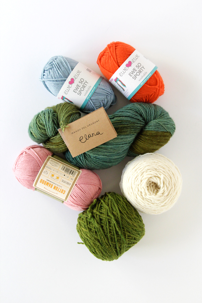 Yarns from Ewe Ewe, Manos del Uruguary, Lion Brand & Mountain Meadow Wool
