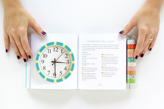 Colorblock wall clock DIY by Heidi Gustad of Hands Occupied in Amy Anderson's new book, Washi Tape Crafts