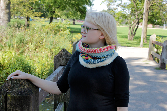 Hands Occupied's take on Ann Weaver's Yipes Stripes cowl.