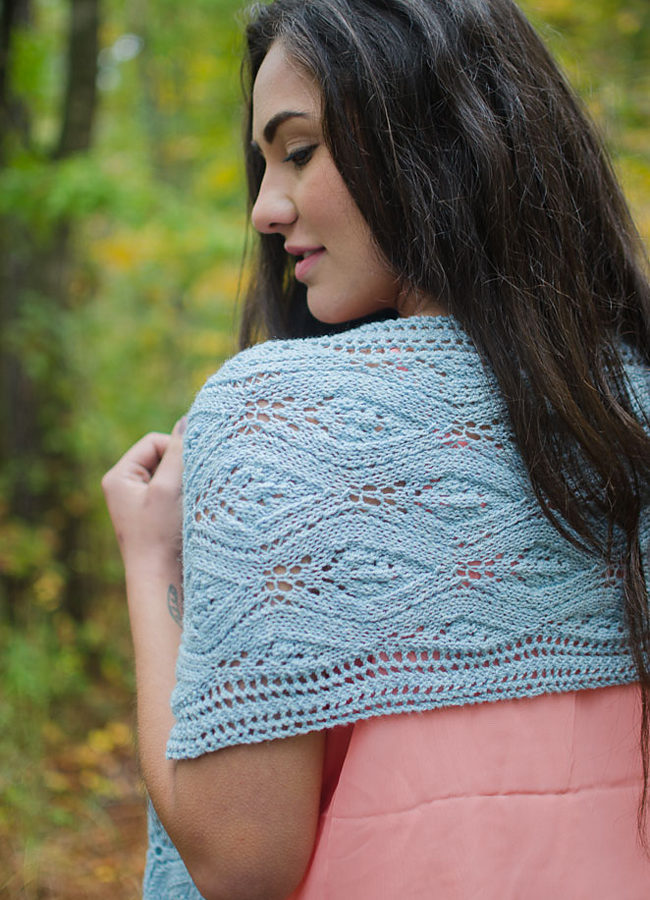 Leucadia is a new knitting pattern from designer Heidi Gustad, featuring undulating lace bordered with eyelets for a lightweight, elegant and adaptable wrap. Pattern is available as a Ravelry download, click through for the link.