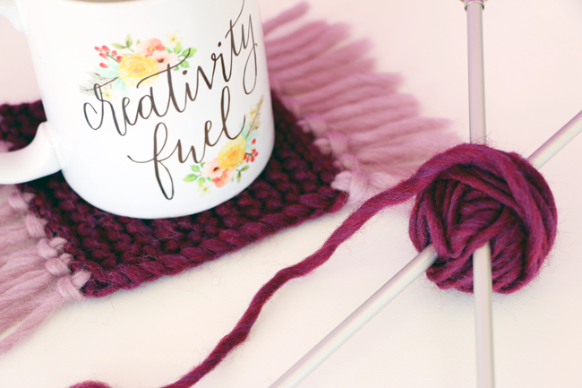 Knit Mug Rugs Pattern - Heidi Gustad for Blitsy