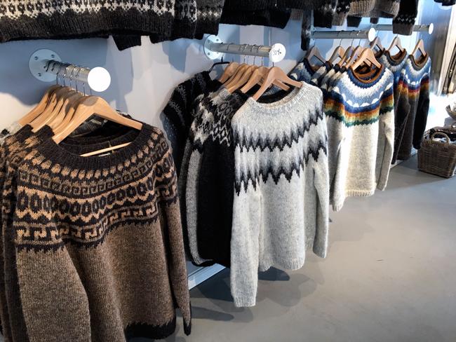 A rack of handmade Icelandic lopapeysa sweaters