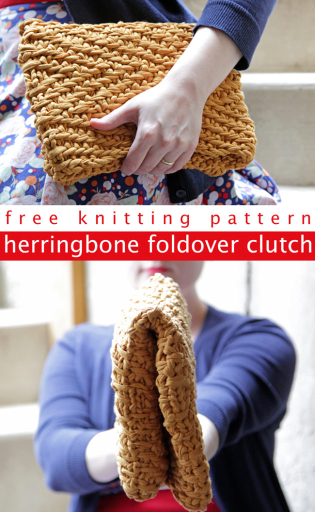 Get your hands on the free pattern to knit this versatile foldover clutch out of fabric yarn!