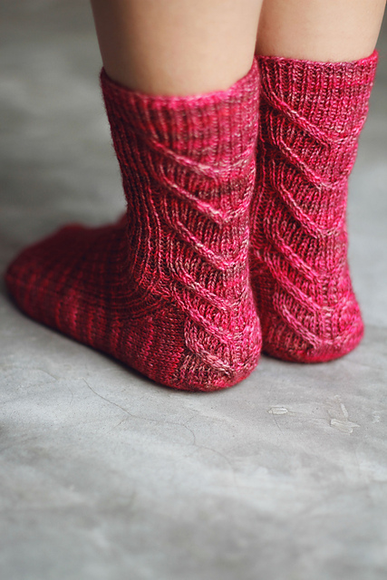 Cables Down the Back Socks by Joji Locatelli