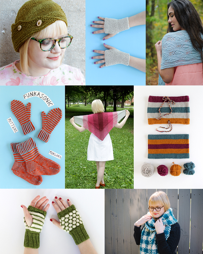 Collage of knitting designs by Heidi Gustad