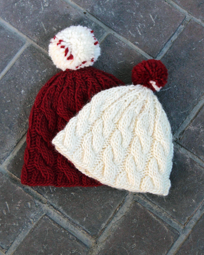 Knit an adorable cable knit beanie for winter with this free pattern that comes in adult and children's sizes.