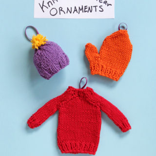 How to knit winter gear inspired Christmas ornaments three ways! Get the free patterns at Hands Occupied! #knitornaments #freepattern #minisweater #chirstmasornament