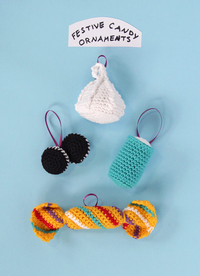 How to crochet holiday treat-inspired ornaments three ways! Click through for the free patterns. #crochetornament #freepattern #crochet #chirstmasornament