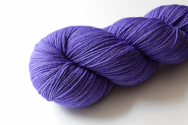 Leading Men Fiber Arts' Soliloquy yarn in Evil Queen