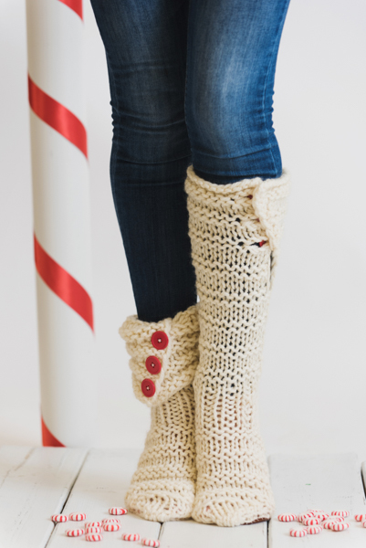 Twisted Peppermint Slippers by Heidi Gustad in I Like Knitting magazine - December 2017