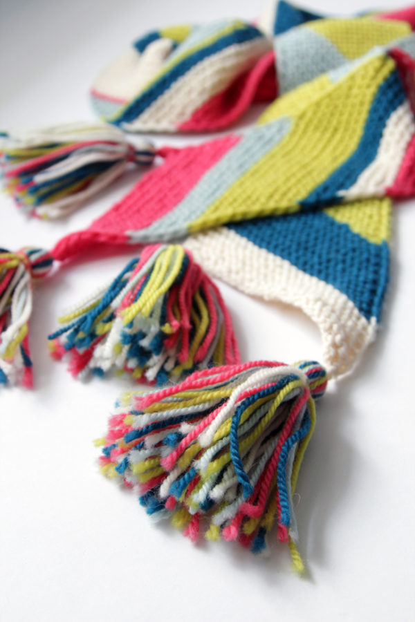 The Big Old Bias Knit Scarf is a free knitting pattern. It's perfect for experienced knitters looking for a palette cleanser (and a way to use up those yarn ends), but it's also good for beginners who want to make something that looks super elegant.