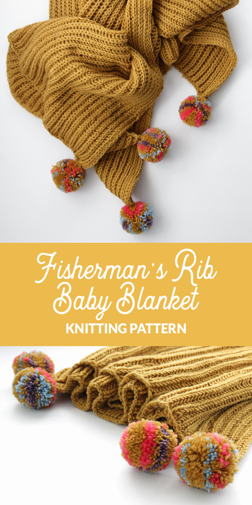 Knit the Fisherman's Rib Baby Blanket, a great option for a decorative throw or baby blanket. This pattern uses an addictive stitch with lots of and dimensionality that will give your blanket endless texture.