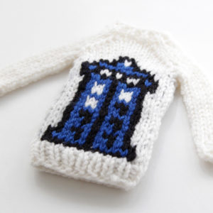 Mini Blue Phone Booth Sweater by Heidi Gustad, designed as part of Fandom Fibers' inaugural collection.