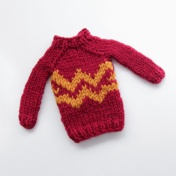 Mini Double 'W' Sweater by Heidi Gustad, designed as part of Fandom Fibers' inaugural collection.