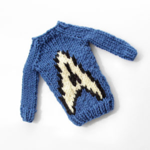 Mini Star Symbol Sweater by Heidi Gustad, designed as part of Fandom Fibers' inaugural collection.