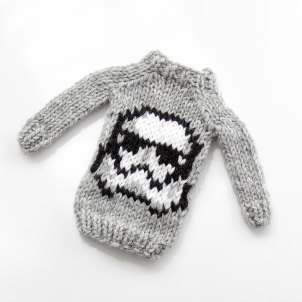Mini Storm Helmet Sweater by Heidi Gustad, designed as part of Fandom Fibers' inaugural collection.