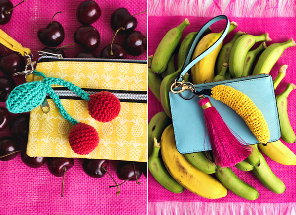 The Cherry Sweet Keychain and Very Apeeling Keychain patterns come together to form a set of Fruitful Purse Flair that are great for summer crocheting. Get the pair of pattern in the June 2018 issue of I Like Crochet magazine.