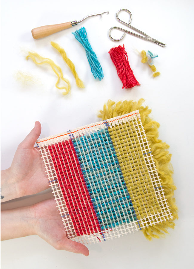 Learn how to latch hook with an easy-to-follow tutorial. Make wall hangings, throw pillows, rugs, and more! Latch hook projects are a great use for scrap yarn too.