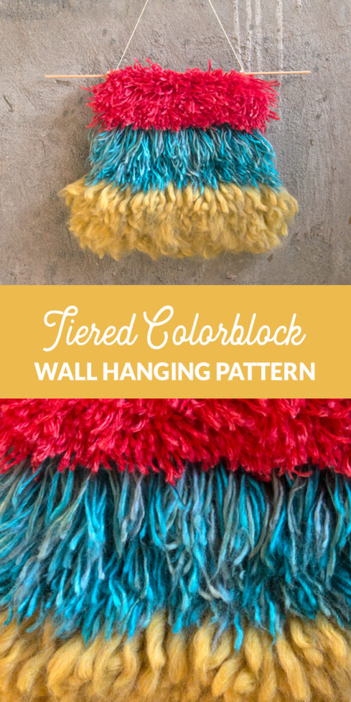 Even beginner crafters can make their own chic wall hanging with latch hook! Get the free pattern for the Primary Tiers Wall Hanging.