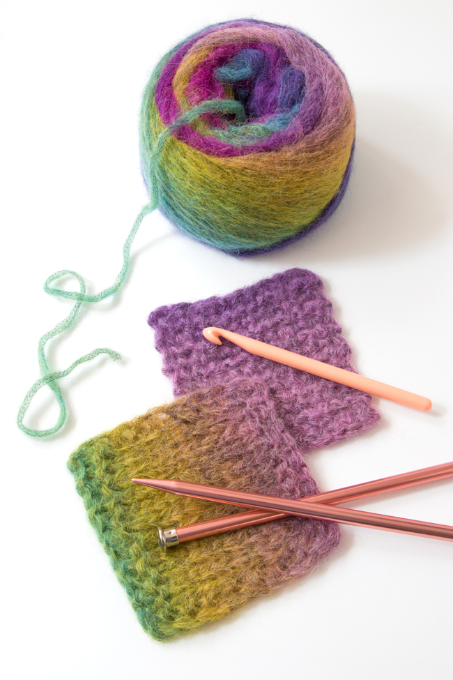 Learn about Berroco Aero yarn, made of a light and lofty blend of alpaca, nylon, and wool. This yarn works up quickly with larger knitting needles and crochet hooks. The vivid color combinations work well with easy projects.