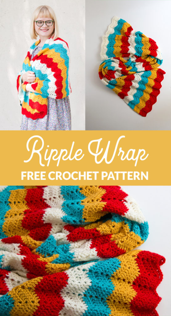 Get your hands on the free crochet pattern for the Ripple Wrap! The Ripple Wrap is a four-color take on one of the most universally-recognized crochet stitches: the ripple stitch. Seen in afghan patterns in grandmothers' houses everywhere, the ripple stitch creates a fun zig zag pattern that opens up tons of possibilities for color combos.