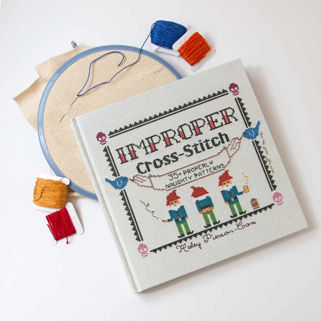 Improper Cross-Stitch by Haley Pierson-Cox is an irreverent, fun & contemporary take on an all-time classic craft. Filled with 35+ fun patterns and an accessible guide to cross-stitch, this book will have you stitching and grinning all day long!