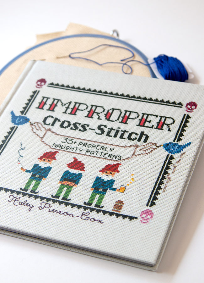 Improper Cross Stitch by Haley Pierson-Cox is an irreverent, fun & contemporary take on an all-time classic craft. Filled with 35+ fun patterns and an accessible guide to cross stitch, this book will have you stitching and grinning all day long!