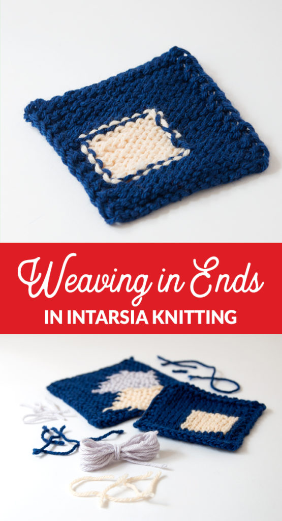 Many people find weaving in ends to be one of the most frustrating parts of intarsia knitting. Click through for a video tutorial that walks you through how to weave in all of those pesky ends, specifically for intarsia colorwork.