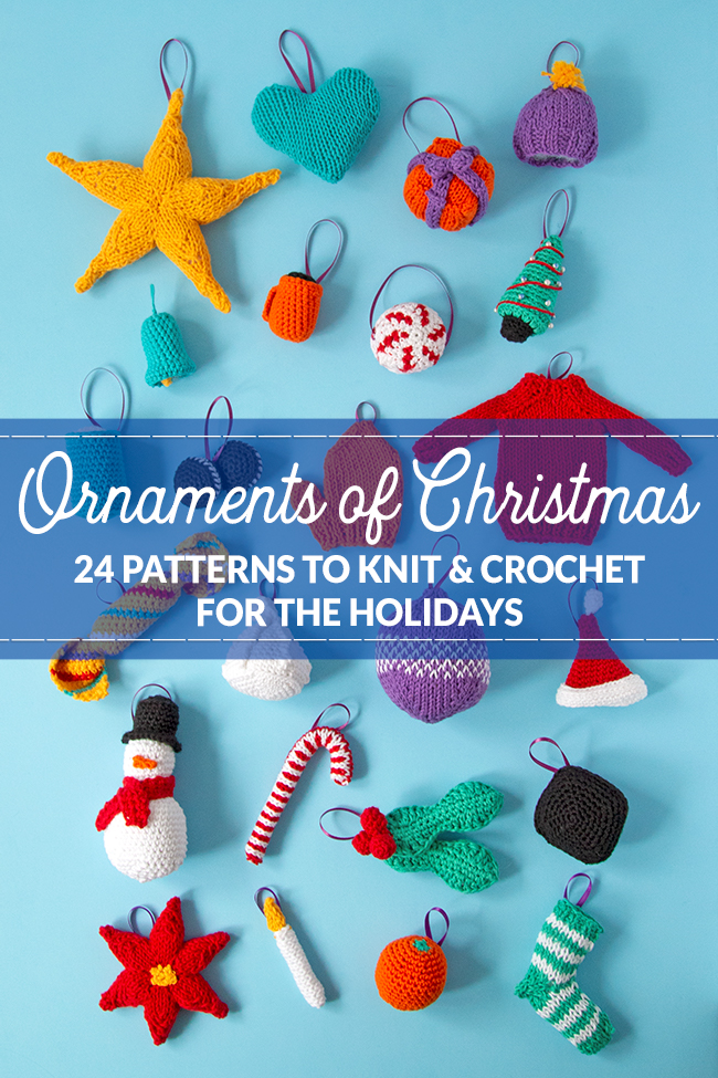 Knit or crochet some adorable ornaments to trim your tree! Get your hands on this collection of 24 knit and crochet patterns for Christmas ornaments. Each ornament doubles as a great gift topper or stocking stuffer!