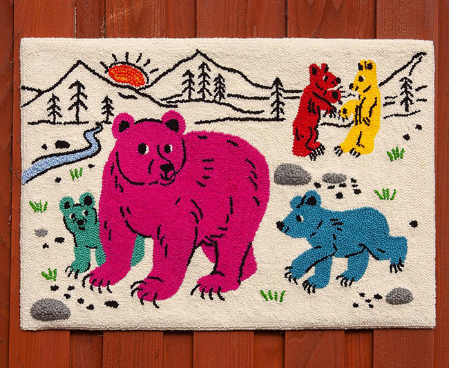 Punch Needle Bear Family Rug by Lindsay Gruetzmacher
