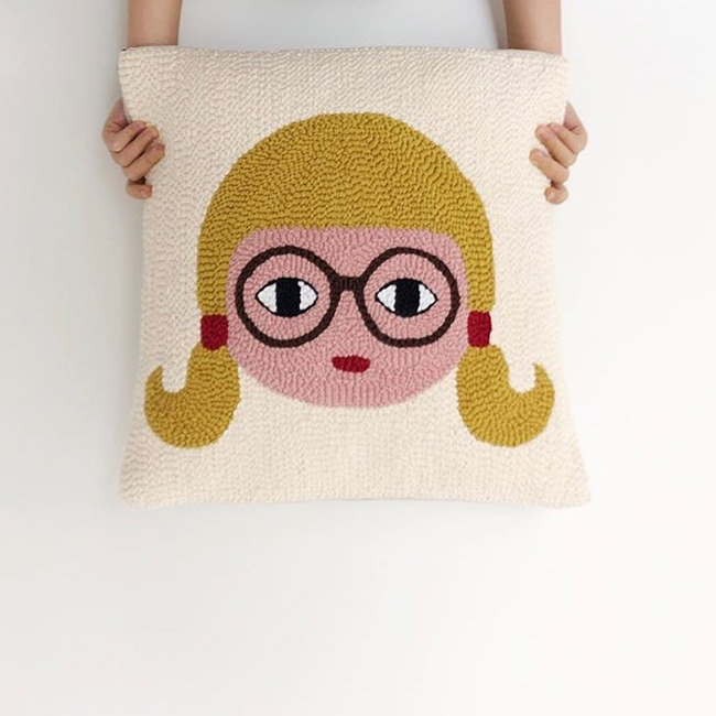 Punch Needle Pigtails Girl Pillow by Laetitia Dalbies