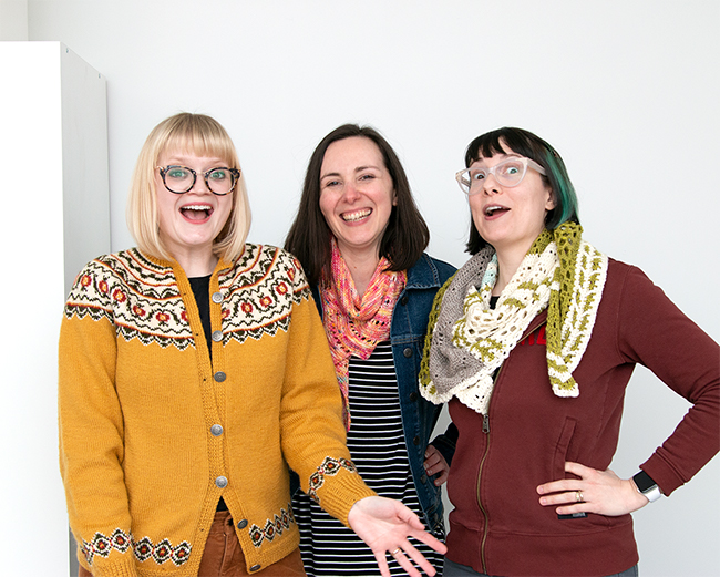 The hosts of the Very Serious Crafts Podcast (from left to right): Heidi Gustad (Hands Occupied), Mollie Johanson (Wild Olive) & Haley Pierson-Cox (Red-Handled Scissors)