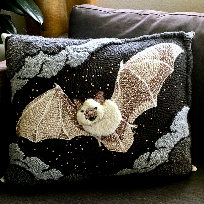 Punch Needle Bat Pillow by func & rec