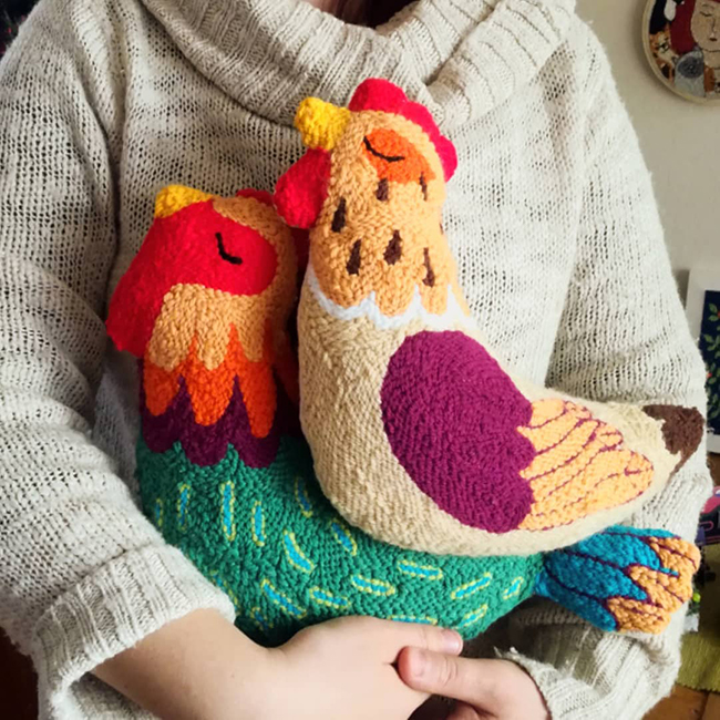 Punch Needle Chicken Cushions by CutiePiePunch
