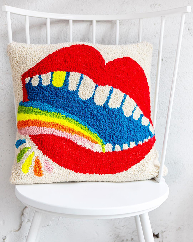 Punch Needle Mouth Cushion by Lisa Congdon