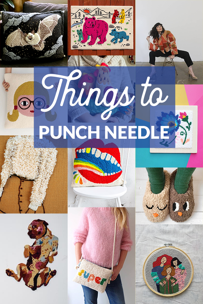 Find twelve inspiring works of art made with punch needle. Both a rug-making and embroidery technique, punch needle can be used to craft some amazing things with string! Click through for artist/seller names and image sources.