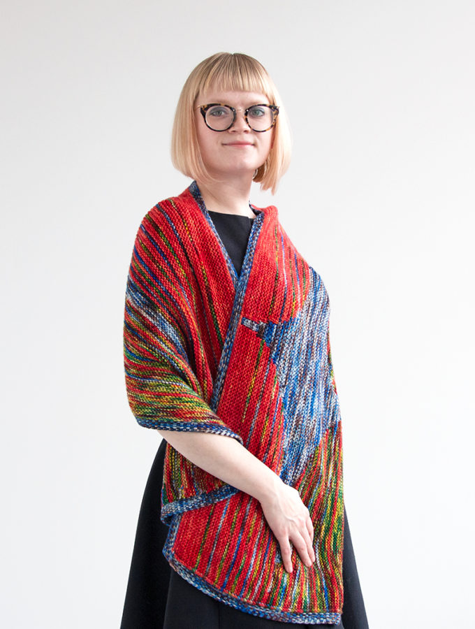 Faded Flare Wrap by Heidi Gustad, Part of Zen Yarn Garden's Impressionist Collection (2019), Photo Credit: Heidi Gustad for Hands Occupied