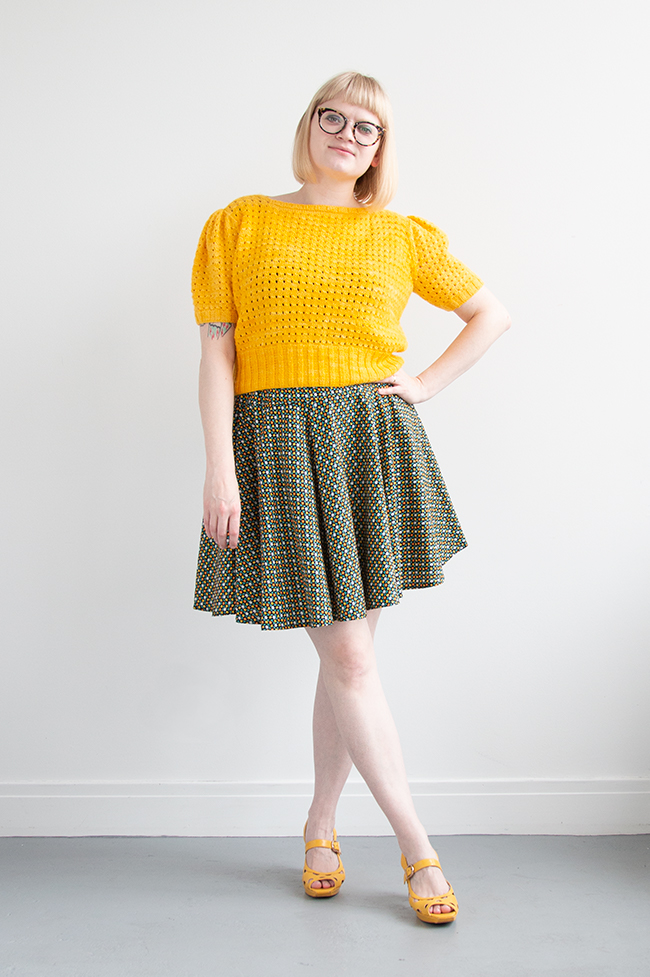Learn what I loved, hated and would do differently in making this handmade outfit. The sweater is an original 1940s knitting pattern for the Fernlace Pullover, and the skirt is a self-drafted circle skirt pattern, fully lined.