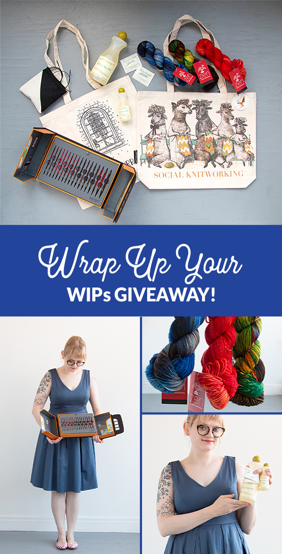 It's the Wrap Up Your WIPs Giveaway on Hands Occupied! Wrap up your works in progress (WIPs) by the end of August for more chances to win this knitter's prize pack worth over $275. Featuring Zen Yarn Garden yarn, Knitter's Pride interchangeable needles, a Social Knitworking tote from Artiphany and Eucalan fiber wash.