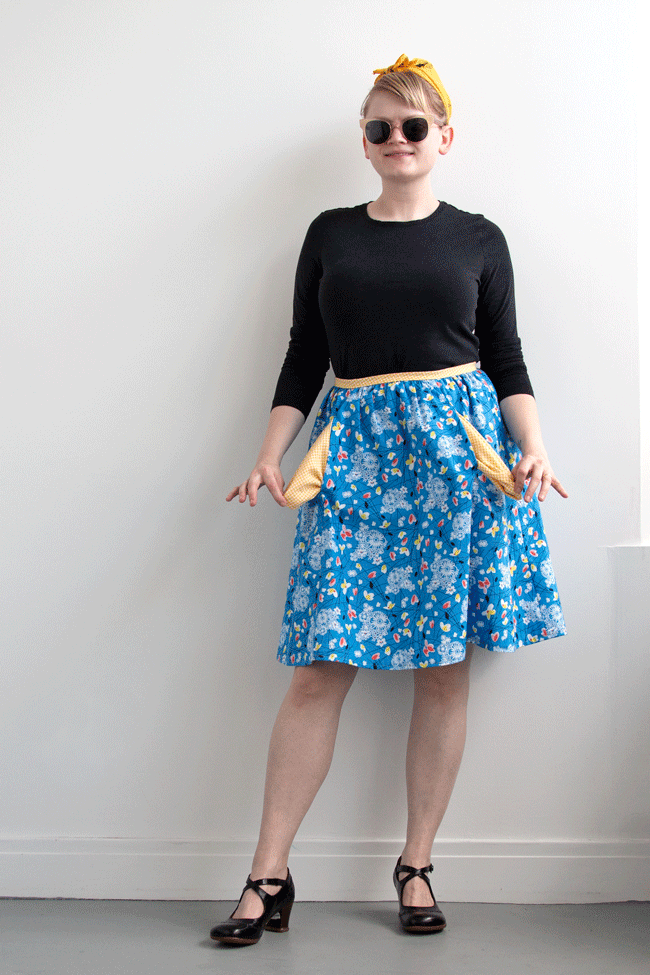 Making a skirt from a favorite dress sewing pattern is easy! Get some easy tips for making half of your favorite dress in the latest edition of Handmade Wardrobe on Hands Occupied.
